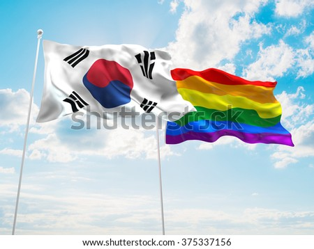 South Korea & LGBT Community Pride Flags are waving in the sky