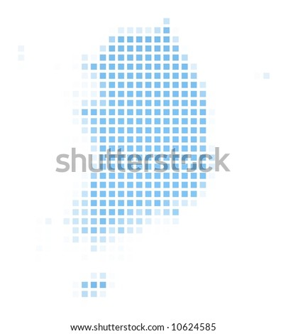 South Korea map square mosaic. Easy to recolor. - stock photo