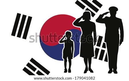 South Korea soldier family salute - stock photo