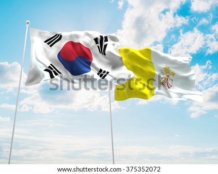South Korea & Vatican Flags are waving in the sky