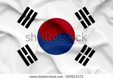 South Korea waving flag - stock photo