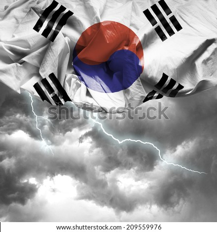 South Korea waving flag on a bad day - stock photo