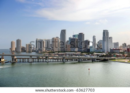 South Miami Beach buildings and water front early in the morning - stock photo
