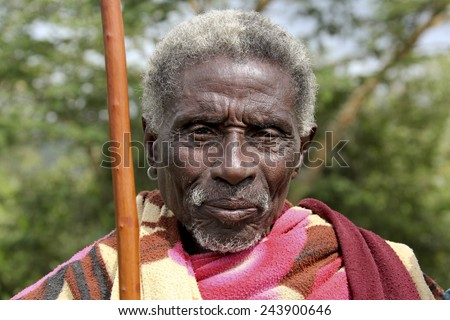 SOUTH OMO - ETHIOPIA - NOVEMBER 26, 2011: Portrait of the unidentified old man from Ethiopia, in November 26, 2011 in Omo Rift Valley, Ethiopia.