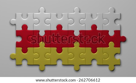 South Ossetia flag assembled of puzzle pieces on gray background - stock photo
