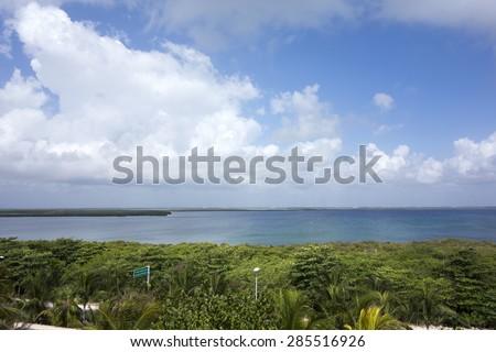 South part of Nichupte laguna as seen from El Rey Zona, Benito Juarez, Cancun, Mexico - stock photo