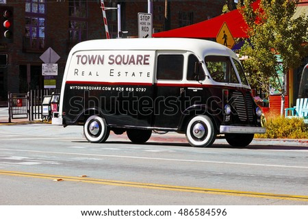 SOUTH PASADENA/CALIFORNIA - SEPT 18, 2016: A classic International Metro van is parked along the road on the famous Route 66 in South Pasadena, California USA