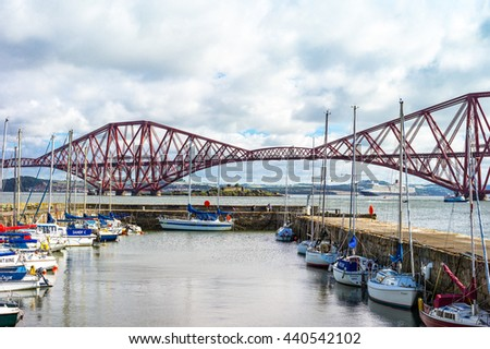 South Queenferry, Scotland - July 29,2012: Lothian area, the Forth Rail Bridge seen from  harbor
