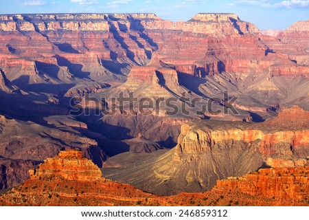 South Rim Grand Canyon before sunset, Arizona, US - stock photo