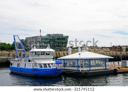 SOUTH SHIELDS - 15 JUNE : Harbour at 15 June 2015 in South Shields, England. North Shields and South Shields are located in a bay's two sides, ideal places for marine transport.