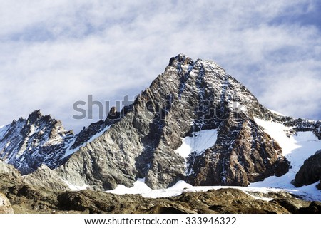 South side of Mount Grossglockner, Hohe Tauern National Park, Austrian Alps, Austria - stock photo