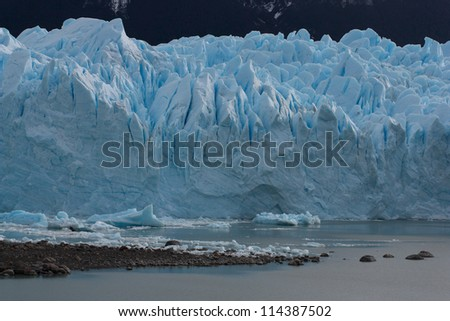 South side of the Perito Moreno Glaciar in Los Glaciares National park in argentine Patagonia