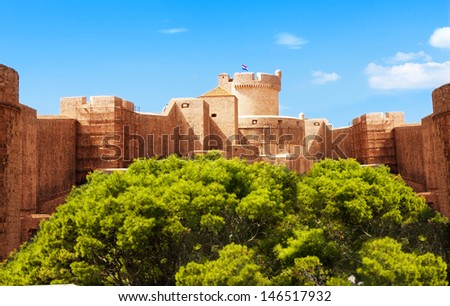 South stronghold with massive fortification on sunny day - stock photo