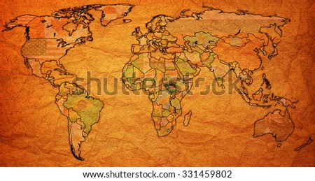 south sudan flag on old vintage world map with national borders