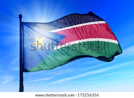 South Sudan flag waving on the wind - stock photo