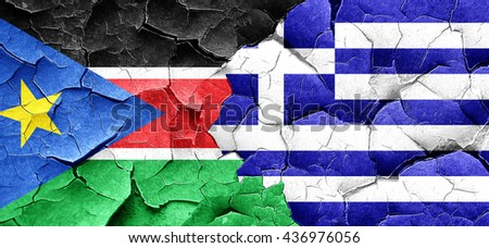 south sudan flag with Greece flag on a grunge cracked wall