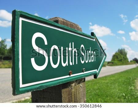 SOUTH SUDAN signpost along a rural road - stock photo