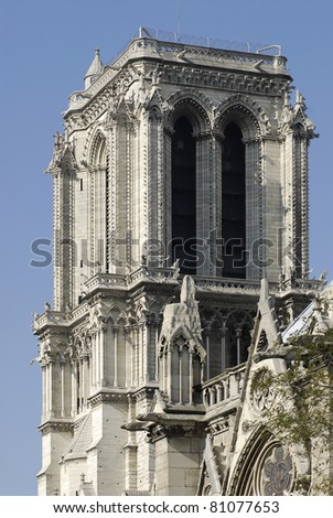 South tower of the cathedral of Notre Dame in Paris in France - stock photo