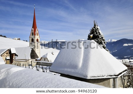 South Tyrol, St. Wolfgang church in winter