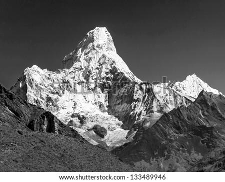 South view of the peak Ama Dablam (6814 m) - Nepal, Himalayas (black and white) - stock photo