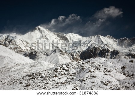 South wall of Cho Oyu (8202m.), Himalayas,  Nepal - stock photo