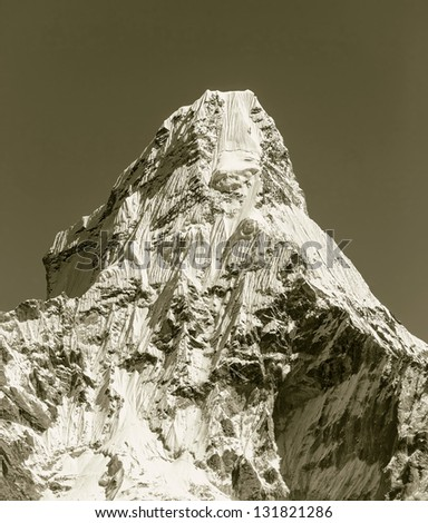 South wall of the peak Ama Dablam (6814 m) - Nepal, Himalayas (stylized retro)