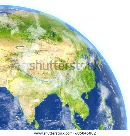 Southeast Asia. 3D illustration with detailed planet surface. Elements of this image furnished by NASA.