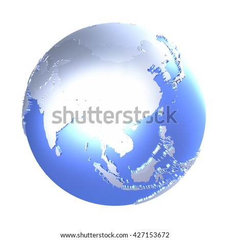 Southeast Asia on bright metallic model of planet Earth with blue ocean and shiny embossed continents with visible country borders. 3D illustration isolated on white background. - stock photo