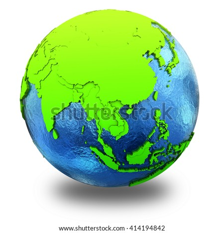 Southeast Asia on elegant green 3D model of planet Earth with realistic watery blue ocean and green continents with visible country borders. 3D illustration isolated on white background with shadow.