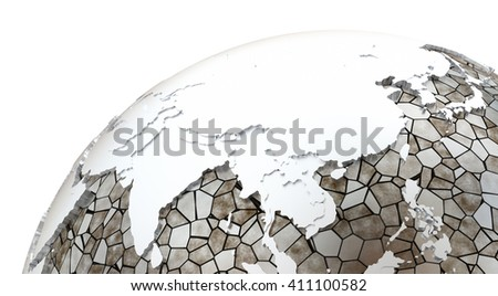 Southeast Asia on metallic model of planet Earth. Shiny steel continents with embossed countries and oceans made of steel plates. 3D rendering. - stock photo