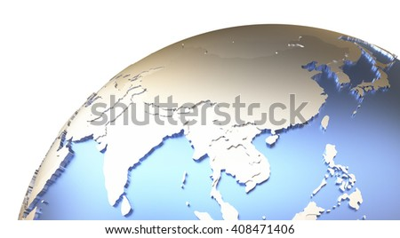 Southeast Asia on metallic model of planet Earth with embossed continents and visible country borders. 3D rendering. - stock photo
