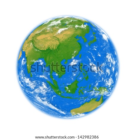 Southeast Asia on planet Earth isolated on white background. Elements of this image furnished by NASA.