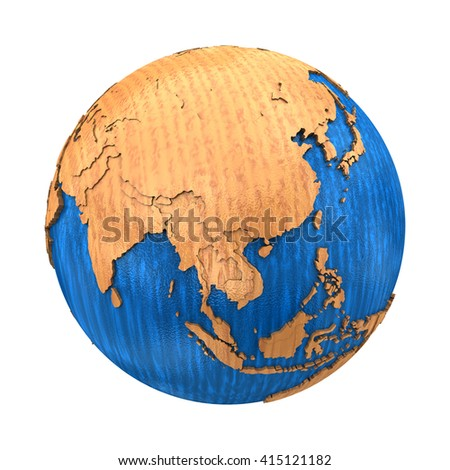 Southeast Asia on wooden model of planet Earth with embossed continents and visible country borders. 3D illustration isolated on white background. - stock photo