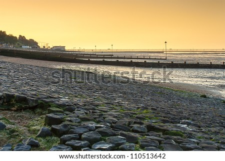 Southend Essex UK coastline seafront with pier on the horizon. - stock photo