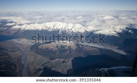 Southern Alps mountain range in Queenstown, New Zealand - stock photo