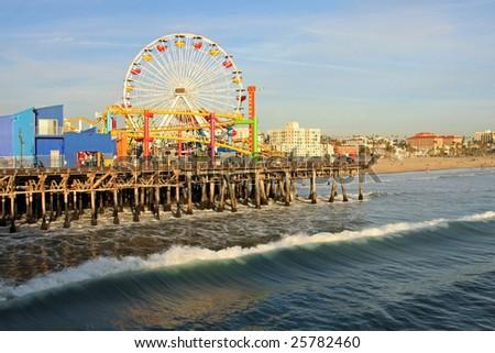 Southern California and the amusement pier at Santa Monica Beach - stock photo