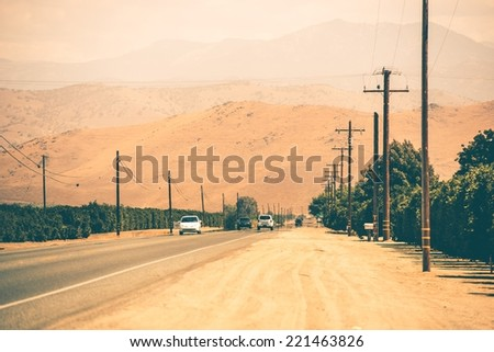 Southern California Highway to Sierra Nevada Mountains. California Country Highway. United States - stock photo