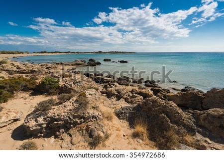 Southern coast of Crete. Greece - stock photo