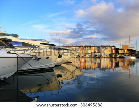 Southern France. French Riviera.Yacht in Port Grimaud at sunset