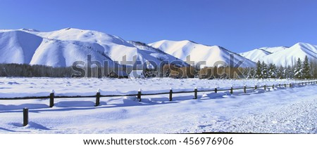 Southern Idaho in winter - Sun Valley, Craters of the moon - stock photo