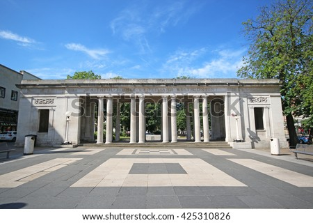 SOUTHPORT, UK - MAY 23, 2016: Colonnade for the war memorial, Lord Street. Southport is a large seaside town in the Metropolitan Borough of Sefton, Merseyside, England - stock photo