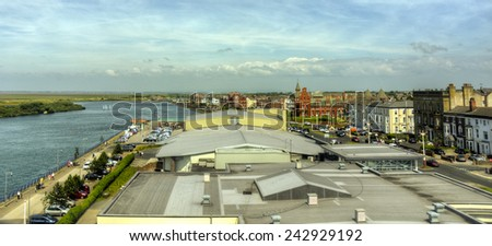 SOUTHPORT, UNITED KINGDOM - JUNE 24: view of Southport and Marine Lake on June 24, 2014 in Southport, United Kingdom. Southport has a population of 91,703 and is a popular seaside resort.  - stock photo