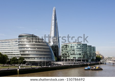 Southwark Skyline in London with the new Shard skyscraper, City Hall and the More London Estates.  - stock photo