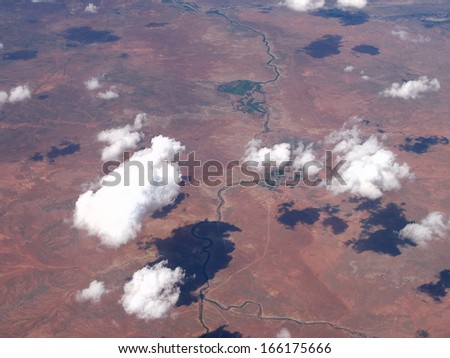 southwest - clouds and their shadows - stock photo