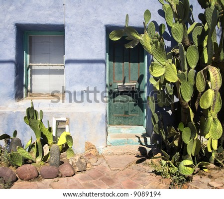 Southwest Tuscon Az traditional home exterior - stock photo