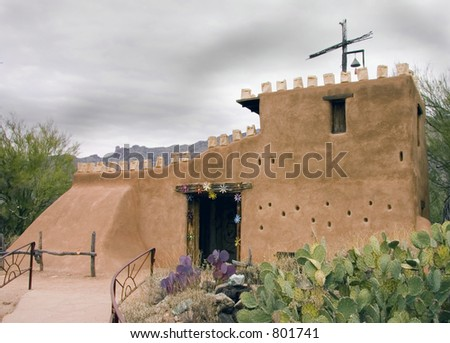 Southwestern Adobe Church - stock photo