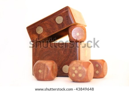 Souvenir in the form of a cube with an opening cover and the enclosed small cubes - stock photo
