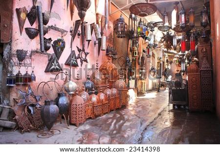 Souvenir lamp shop in the medina, Morocco - stock photo