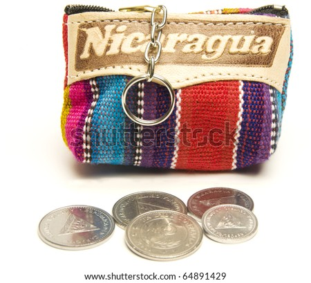 souvenir memento key chain change purse hand made woven colorful fabric made in Nicaragua with cordoba coins