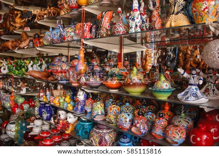 Souvenir shop in Turkey. Walk in the Turkish city. Oriental ornament